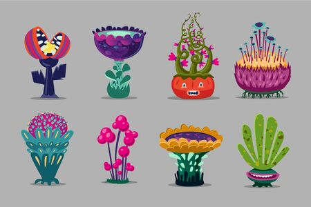 Fantasy plants collection. Ui kit with magic flowers. Cartoon vector illustration. Environment design elements. Vettoriali
