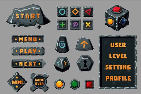 Game design ui kit. Cartoon buttons, banners and interface elements. Fantasy rpg collection. Иллюстрация