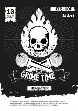 Grime hip-hop party. Rap festival vector banner. Music poster template. Vintage illustration.