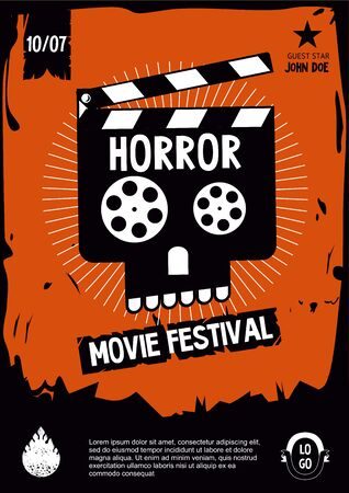 Horror movie festival. Cinema vintage poster with skull. Banner design template. Vector cartoon illustration. Ilustração