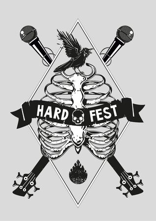 Music poster template. Rock and roll festival flyer design. Guitar, microphone and rib cage. Vintage vector illustration