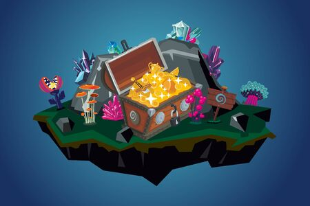 Treasure chest with golden coins and awards. Video game background. Environment with flowers. stone and prize. Cartoon vector illustration. Fantasy landscape. Ilustração