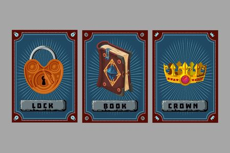 Lock, book and crown. Card game collection. Fantasy ui kit with magic items. User interface design elements with decorative frame. Cartoon vector illustration.