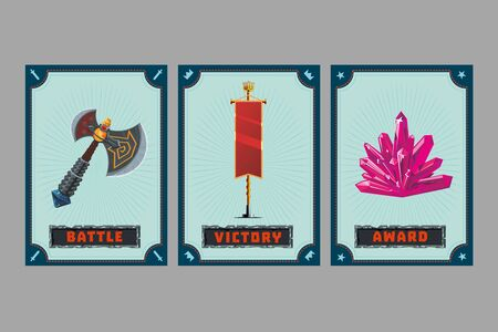 Axe, flag and stone. Card game collection. Fantasy ui kit with magic items. User interface design elements with decorative frame. Cartoon vector illustration. Ilustração