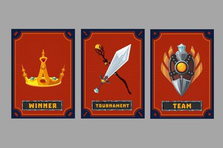 Crown, shield and weapon. Card game collection. Fantasy ui kit with magic items. User interface design elements with decorative frame. Cartoon vector illustration.