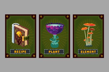 Mushroom, book and flower. Card game collection. Fantasy ui kit with magic items. User interface design elements with decorative frame. Cartoon vector illustration.