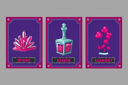 Elexire, crystal and plant. Card game collection. Fantasy ui kit with magic items. User interface design elements with decorative frame. Cartoon vector illustration.