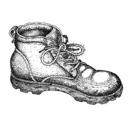 Old boot. Grapic illustration. Hand drawn line art. Vintage style print.