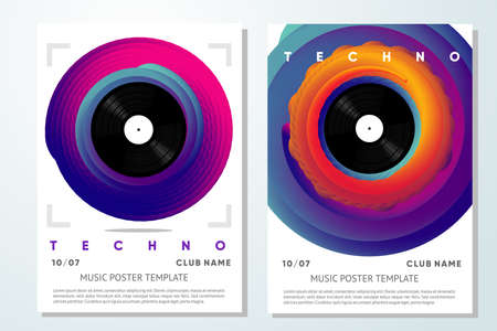 Event poster for music festival. Vinyl record with twisted color gradient. Night club flyer template. Vector background.