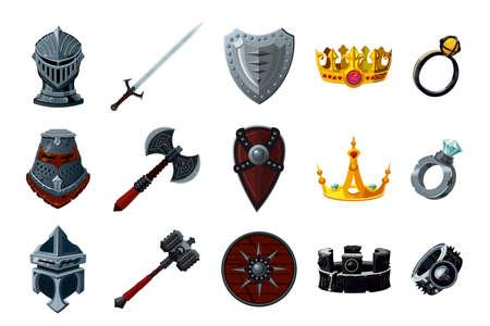 Game asset pack. Fantasy icon set with magic items. User interface design elements. Cartoon vector illustration.