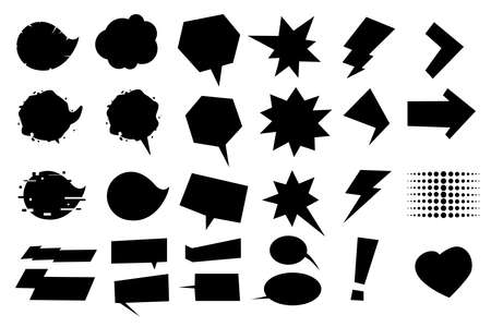 Comics style cartoon bubbles. Dialog frames and signs. Chart messages set, pop art style. Isolated icons vector set.