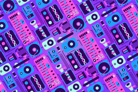 Music party background with audio equipment. Night club backdrop with vinyl and dj turntable.