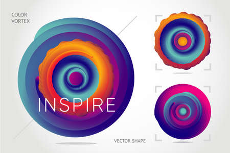 Abstract twisted shape with vibrant gradient. Liquid color form with motion effect. Vector design elements, plasma style.