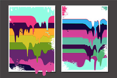 Posters set with oil paint splashes. Graffiti style borderon isolated background. Grunge vector backdrop with spray splashes.