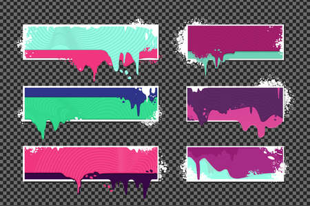 Web banners set with oil paint splashes. Graffiti style borders set on isolated background. Grunge vector backdrop with spray splashes.