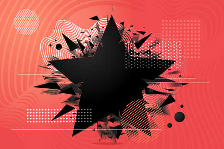 Abstract explosion shapes set with black particles. Bang futuristic design elements collection. Design templates. 向量圖像