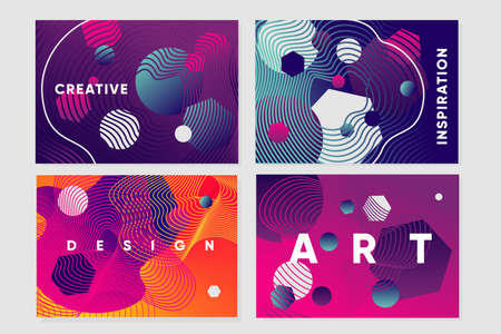 Abstract backgrounds set with curved lines and bright gradients. Presentation pages template. Irregular chaotic elements. Creativity design. Vibrant gradient.