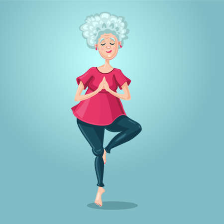 Old lady yoga. Grandmother in the asana position. Cartoon character on isolated background. Sport grandma. Senior adult healthy lifestyle.