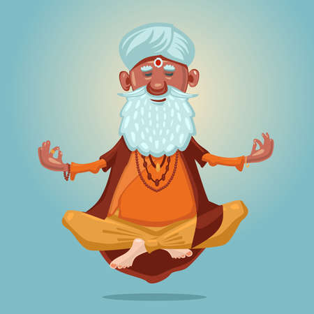 Indian guru yoga. Grandfather in the asana position. Cartoon character on isolated background. Old man meditating in a lotus pose.