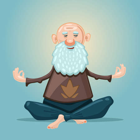Old man yoga. Grandfather in the asana position. Cartoon character on isolated background. Sport grandpa. Senior adult healthy lifestyle.