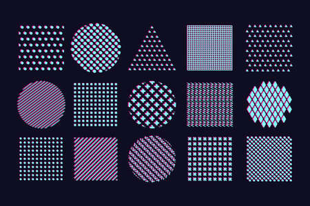 Abstract pattern set with chromatic aberration effect. Best for glitch background design and motion animation. Glitchy vector shape.