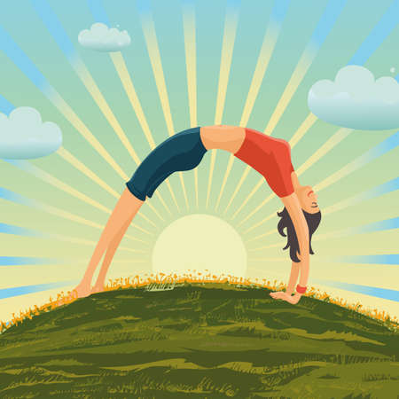Young girl is making exercise on the nature. Woman yoga asana poses. Vector art. Healthy lifestyle cartoon illustration. 向量圖像