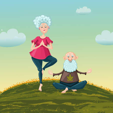 Adult couple is making exercise on the nature. Yoga for old people. Healthy lifestyle cartoon illustration. Vector art. 向量圖像