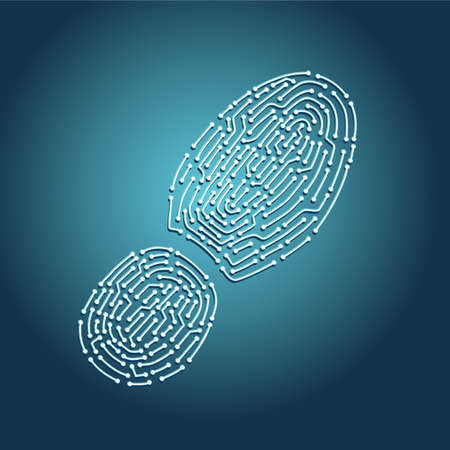 Digital tracking concept. Footprint with chip pattern. Computer identity vector illustration. Biometric information protection.