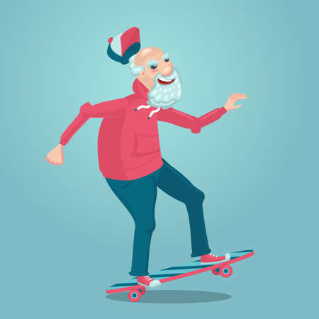 Grandpa on a skate. Old man is skating. Cartoon character design. Adult man sport activity. Retirement healthy lifestyle. 向量圖像