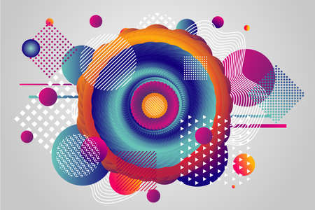 Color vortex and whirlpool. Abstract background with geometric patterns. Twisted volume shape with vibrant gradient and flat particles. Chaotic structure. Vector horizontal banner. 向量圖像