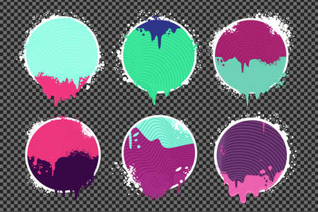 Paint spots. Graffiti style borders set on isolated background. Grunge vector backdrop with spray splashes.