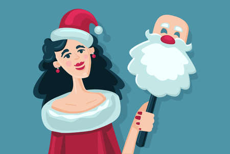 Woman with Santa Claus mask. Girl with a bag of gifts. Christmas party. Cartoon style illustration