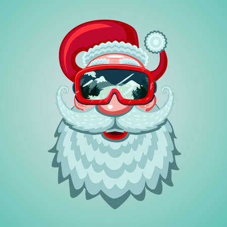 Santa Claus head with snowboard mask. Winter sport vector illustration. Cartoon style. 向量圖像