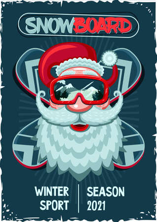 Snowboarder Santa Claus. Vintage poster. Head with snowboard mask. Winter sport vector illustration.