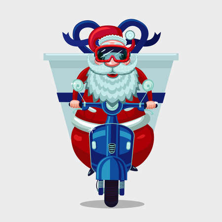 Christmas present delivery. Santa Claus riding on a vintage moto bike.Online store holiday courier service.