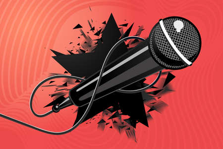 Microphone with black star. Vector mic. Music background illustration, modern style. 向量圖像