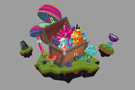 Fantasy Landscape with a Treasure Chest. Cartoon game award.