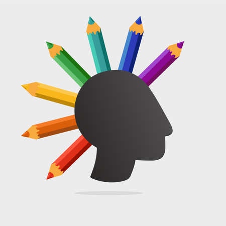 Punk head with color pencils. Art school vector sign. Creativity and self-education concept.