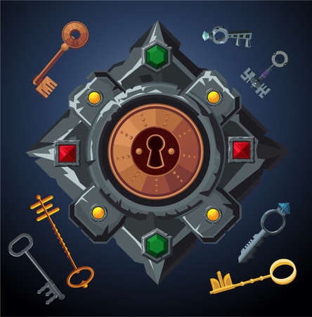 Quest game vector object. Lockhole with vintage keys. Door emblem. Escape room background.