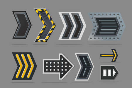 Metal arrow set. Navigation signs collection. Cyberpunk style concept art. Realistic interface design. Gui elements.