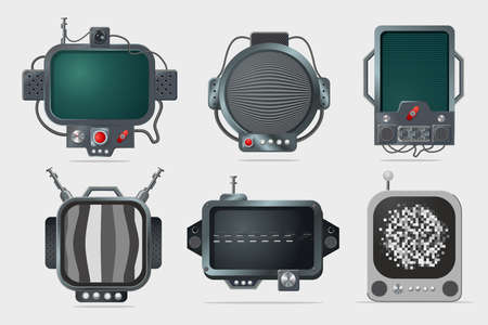 Vintage display set. TV screen design. Cyberpunk style concept art. Old computer isolated on white background. Realistic icons. 向量圖像