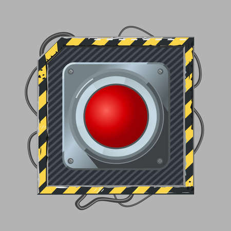 Red button. Cyber punk style. Vector icon template. Realistic metal switch with wires. Video game concept art.