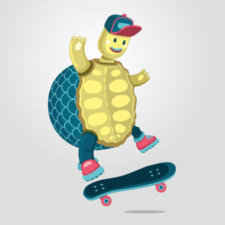 Turtle on a skateboard. Funny cartoon style illustration. Vector print design. Animal sport mascot.