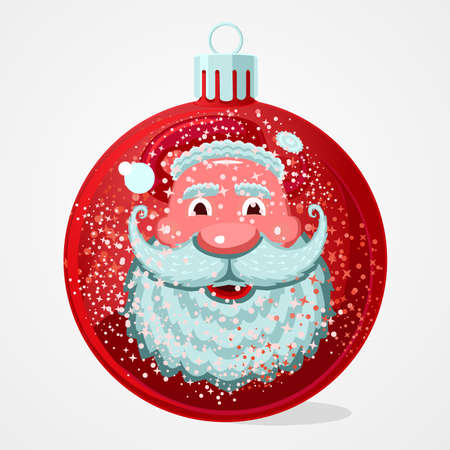 Christmas gift. Santa Claus face is reflected in the Christmas ball. New year cartoon illustration. Vector design.
