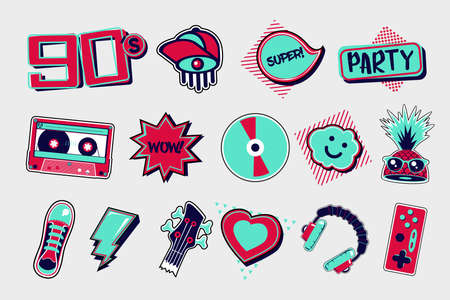 90s style vector icons. Funky signs set on isolated background. Cartoon vector illustrations. Party clip art. 向量圖像
