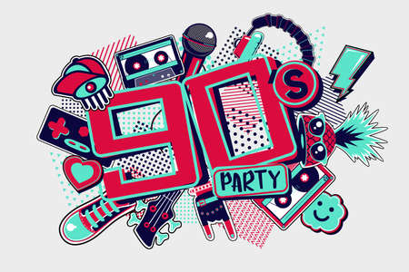 90s style party backgrounds. Vintage music posters. Funky disco design template. Horizontal vector illustration.