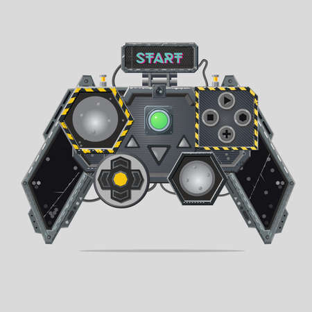 Cyberpunk style gamepad. Videogame joystick. Realistic material design controller. Pro gamer device. Vector illustration on isolated background.