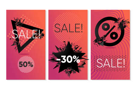 Sale banners set. Discounts backgrounds, abstract geometric shapes. Black friday label. Vector tag collection. 向量圖像