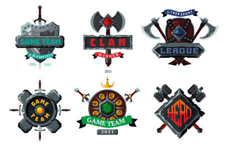 Game emblem set. Cyber sport team vector signs. Player club heraldic symbols. Fantasy antique shields and coats. Vector cartoon arms.