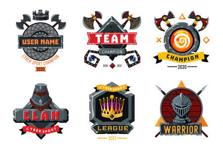 Game emblem set. Cyber sport team vector signs. Player club heraldic symbols. Fantasy antique shields and coats. Vector cartoon arms. 版權商用圖片 - 156791220